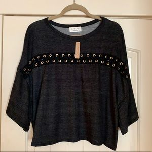 NWT Black Cropped Tee with Criss Cross Detail